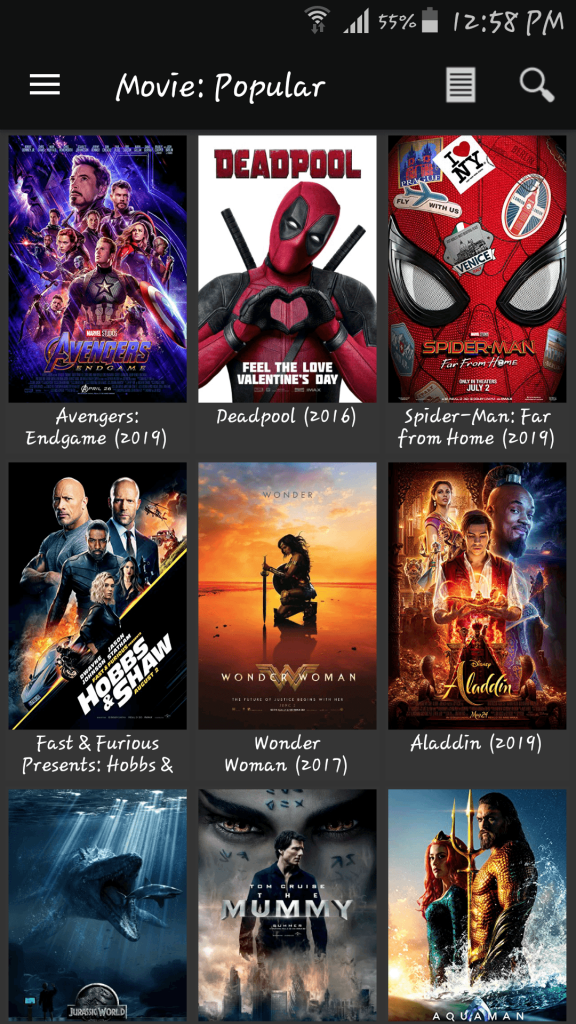 Movies HD APK Movie section